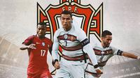 Portugal - Joao Moutinho, Cristiano Ronaldo, Nani (Bola.com/Adreanus Titus)