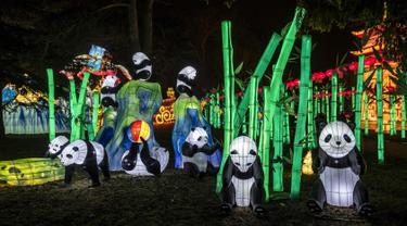 Lentera panda raksasa dipamerkan dalam Festival Lentera Gaillac di Taman Foucaud, Gaillac, Prancis, Rabu (12/12). Festival Lentera Gaillac berlangsung pada 1 Desember 2018 hingga 6 Februari 2019. (ERIC CABANIS/AFP)