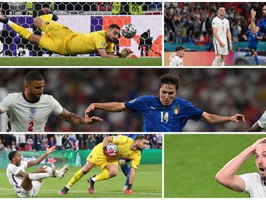 Foto kombinasi menunjukkan kiper Italia Gianluigi Donnarumma, pemain Italia Leonardo Bonucci dan Federico Chiesa, serta pemain Inggris Raheem Sterling dan Harry Kane pada ajang Euro 2020. (Paul ELLIS/POOL/AFP, Carl Recine/POOL/AFP, FACUNDO ARRIZABALAGA/POOL/AFP)