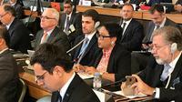 Menteri Luar Negeri RI Retno Marsudi menyampaikan paparannya dalam Ministerial Conference in Afghanistan di Gedung PBB, Jenewa 28 November 2018 (sumber: Kemlu RI)