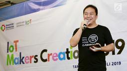 CEO PT SAM Element Indonesia Agustinus Rudy, memberikan sambutan pada hands on workshop IoT Makers Creation 2019 di Tangerang, Kamis (25/7/2019). IoT di Tangerang mencoba platform lokal yang dikembangkan oleh SAM Element dalam workshop IoT Makers Creation 2019. (Liputan6.com/HO/Ady)