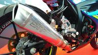 Suzuki GSX-R150 punya paket knalpot racing.