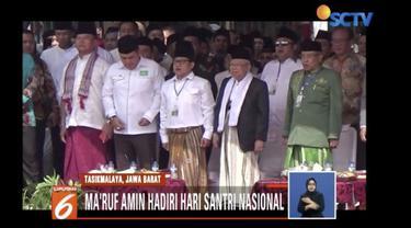 Ma'ruf Amin hadiri peringatan Hari Santri Nasional di Tasikmalaya, Jawa Barat, bersama Menkopolhukam Wiranto.