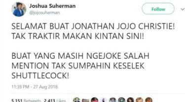 Banyak warganet yang mengucapkan selamat ke Jonatan Christie atas keberhasilannya di Asian Games 2018. Namun banyak yang salah alamat ke akun Joshua Suherman hingga membuatnya kesal.