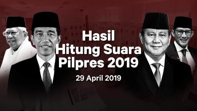 Berikut hasil hitung suara Pemilu 2019 yang sudah masuk di situs pemilu2019.kpu.go.id pada Senin 29 April 2019.