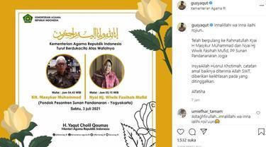 Pengasuh Ponpes Sunan Pandanaran KH Masykur Muhammad dan Nyai Hj Wiwik Fasihah Mufid wafat