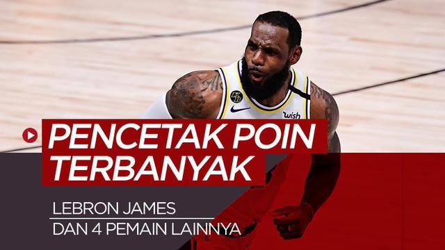 Berita motion grafis 5 pencetak poin terbanyak sepanjang babak playoff NBA musim ini. LeBron James berada di nomor 2.