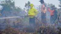 Pemadaman kebakaran lahan di Pontianak. (Foto: Liputan6.com/Aceng Mukaram)