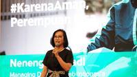 Managing Director Grab Indonesia Neneng Goenadi saat memperkenalkan dua fitur keamanan terbaru Grab yakni VOiP dan pengenalan wajah (Foto: Grab)