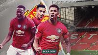 Tiga ujung tombak Manchester United: Anthony Martial, Mason Grenwood dan Marcus Rashford. (Bola.com/Dody Iryawan)