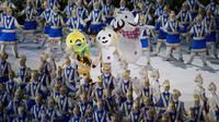 Maskot Asian Games saat pembukaan di SUGBK, Jakarta, Sabtu, (18/8/2018).  Indonesia mengikutsertakan total 938 atlet, 365 ofisial dalam Asian Games 2018. (Bola.com/Vitalis Yogi Trisna)