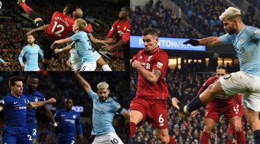 Manchester City meraih gelar keenam Premier League musim ini usai meraih kemenangan kontra Brighton Albion di laga pamungkas. Memenangkan laga besar menjadi satu dari sekian kunci Man City bisa meraih gelar tersebut. (Kolase Foto AFP)