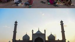 Foto kombinasi pada 5 Juni 2018 (atas) dan pada 25 April 2020  menunjukkan Masjid Jama saat bulan suci Ramadan di New Delhi. Masjid terbesar India yang selalu ramai dipenuhi Umat Muslim saat Ramadan kini sepi imbas lockdown guna menekan penyebaran virus corona (Xavier GALIANA dan Sajjad HUSSAIN/AFP)