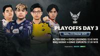 Link Live Streaming MPL Indonesia Season 8 Babak Playoff di Vidio, Sabtu 23 Oktober 2021. (Sumber : dok. vidio.com)