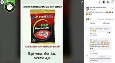 Gambar Tangkapan Layar Foto Hoaks BBM Premium Kemasan Sachet