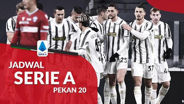 Berita motion grafis jadwal Liga Italia 2020/2021 pekan ke-19, Juventus bertandang ke markas Sampdoria.