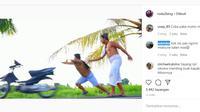 Motor Lagi Digeber Malah Dimasukin Gigi 1 Sampai Nyebur Got (Instagram)