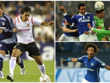 Schalke 04 menjadi salah satu klub di Bundesliga yang sering melahirkan pemain-pemain berbakat. Berikut ini tujuh bintang top yang pernag membela Schalke 04. (Kolase Foto dari AFP)