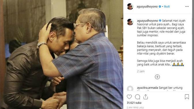 Agus Harimurti Yudhoyono (AHY) mengunggah ucapan selamat Hari Ayah Nasional melalui akun instragramnya.