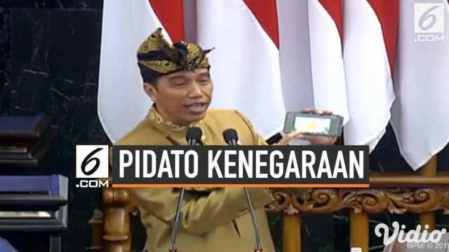 Presiden Jokowi menyampaikan Pidato Kenegaraan menyambut HUT RI ke-74 di depan sidang bersama DPD-DPR pada Jumat (16/8/2019)