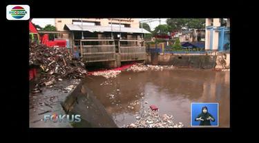 Petugas di Pintu Air Manggarai, Jakarta, masih terus berjuang mengangkat sampah yang terbawa aliran Sungai Ciliwung yang tampak berarus deras.