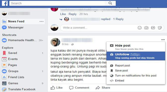 Tips unfollow di Facebook (Foto: Ist)