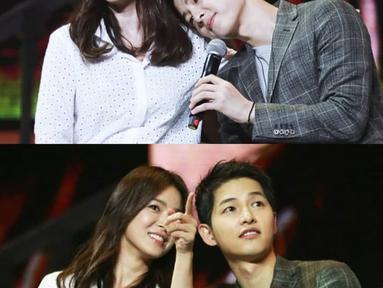 Song Hye Kyo datang ke acara fanmeeting Song Joong Ki. Kemesraan mereka pertama setelah berita hubungan mereka terungkap. (Liputan6.com/IG/indokdrama)