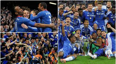 Chelsea pernah merasakan manisnya mengangkat trofi kasta tertinggi kompetisi antar klub Eropa usai mengalahkan Bayer Munchen di laga final Liga Champions pada 2012. Berikut pemain bintang chelsea ketika meraih trofi juara Liga Champions 2012. (kolase foto AFP)