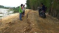 Tanggul Bengawan Solo, yang berada di Desa Sembungrejo, Kecamatan Plumpang, Kabupaten Tuban kembali ambles dan retak lebih dari 100 meter. (Foto: Liputan6.com/Ahmad Adirin)