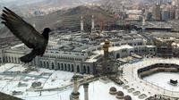 Seekor merpati terbang di atas dekat Masjidil Haram yang kosong karena prosedur pencegahan coronavirus, pada hari pertama haji tahunan yang di kota suci Muslim Mekah, Arab Saudi, Rabu, (29/7/2020). (AP Photo)