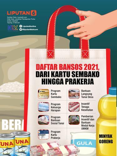 INFOGRAFIS: Daftar Bansos 2021, Dari Kartu Sembako Hingga Prakerja (Liputan6.com / Abdillah)