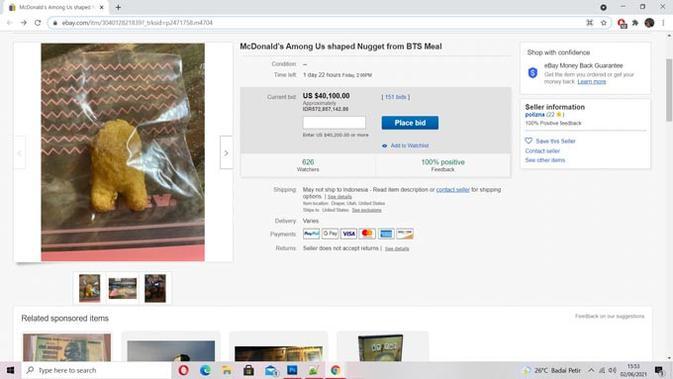 Nugget ayam Among Us didapat dari BTS Combo Meal McDonald's. (Doc: eBay)