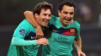 4. Xavi (399 laga) - Xavi merupakan salah satu pemain gelandang terbaik yang membela Barcelona pada 1998-2015. Pemain asal Spanyol ini tercatat 399 kali bermain dengan Lionel Messi selama di Barcelona. (AFP/Giuseppe Cacace)