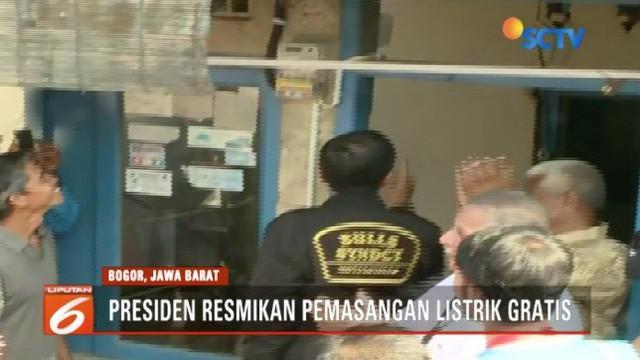 Presiden Jokowi resmikan pemasangan listrik gratis bagi warga tak mampu di Bogor, Jawa Barat.