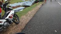 Angin puting beliung yang terjadi di Kecamatan Watubangga Kolaka, menghancurkan sejumlah rumah (Liputan6.com / Ahhmad AkbarI