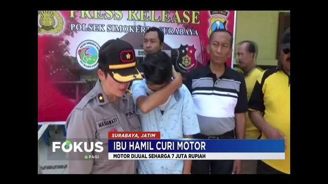 Seorang ibu hamil di Surabaya, Jawa Timur, mencuri motor untuk biaya persalinan. Ia melakukan aksi karena tak ada uang setelah ditinggal kabur suami.
