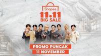 Promo puncak Shopee 11.11 Big Sale menghadirkan Stray Kid yang akan disiarkan secara langsung di SCTV dan Indosiar (Dok.Instagram/@shopee_id/https://www.instagram.com/p/CHW7xyFhqat/Komarudin)