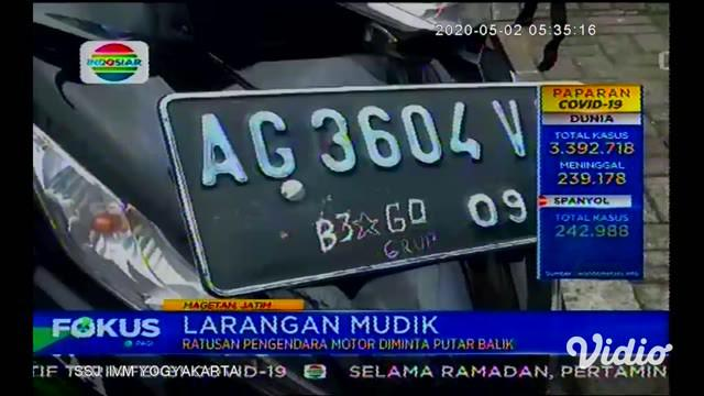 Kota Magetan, Jawa Timur kini turut memberlakukan kebijakan pelarangan mudik, sekitar 200 pemotor dari arah Jawa Tengah diputarbalikkan ke daerah asalnya di daerah Cemoro Sewu.
