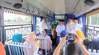 Wali Kota Tangerang Arief R Wismansyah menyampaikan pesan pada pelaku UMKM yang akan menghadiri Trade Expo 2019 di ICE BSD Kota Tangerang. (Liputan6.com/Pramita Tristiawati)