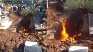 Viral Video Liang Lahat Keluarkan Api Usai Digali, Alasannya Tak Terduga