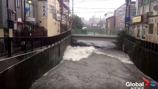Potret Banjir di Jepang Akibat Topan Hagibis, Bersih dan Bebas Sampah. (Sumber: YouTube/Global News)
