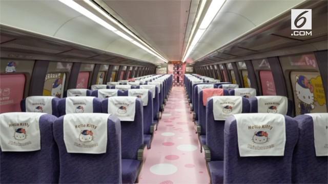 Negeri Sakura memamerkan kereta api super cepat dengan nuansa serba Hello Kitty, lengkap dengan gerbong khusus yang dihiasi gambar kartun kucing khas Jepang itu.