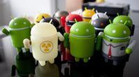 Maskot robot hijau Android