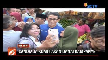 Sandiaga Uno tepati janji untuk membeberkan dana kampanye Pilpres 2019.