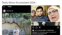 Cuitan netizen soal jokes ala bapak-bapak 'Teuku Wisnu for President 2024'. (Twitter/@idnkeras)