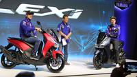 Valentino Rossi dan Maverick Vinales hadir dalam peluncuran Yamaha Lexi 125 di Jakarta. (YIMM)