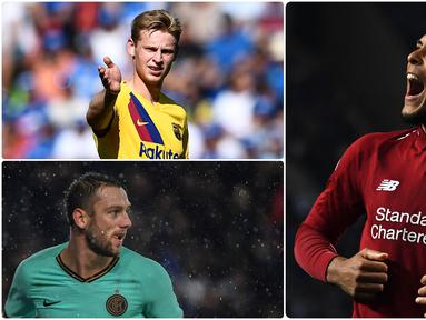 Virgil Van Dijk menjadi salah satu pemain asal Belanda yang memiliki rekor transfer tertinggi sampai saat ini. Selain Van Dijk ada beberapa pemain Belanda lainnya yang juga memiliki nilai transfer tinggi. Berikut 6 pemain Belanda dengan harga transfer tertinggi. (kolase foto AFP)