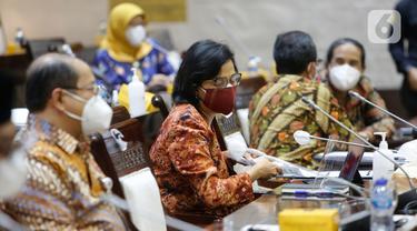 Sri Mulyani Rapat dengan Komisi XI DPR Bahas Pagu Indikatif Kemenkeu