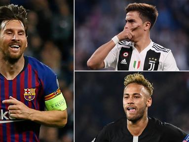 Bintang Barcelona, Lionel Messi, masih menjadi pimpinan sementara pencetak gol terbanyak Liga Champions dengan torehan lima gol. Berikut daftar top scorer Liga Champions hingga matchday kedua. (Kolase foto-foto AFP)