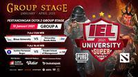 Live streaming babak group stage IEL University Super Series 2021, Selasa (19/1/2021) pukul 17.00 WIB dapat disaksikan melalui platform Vidio, laman Bola.com, dan Bola.net. (Dok. Vidio)